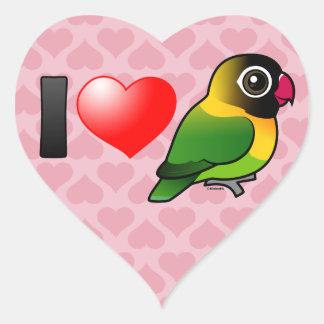 I Love Masked Lovebirds Heart Sticker
