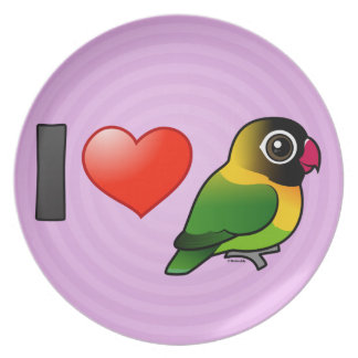 I Love Masked Lovebirds Party Plate