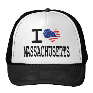 I LOVE MASSACHUSETS TRUCKER HAT