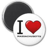 I LOVE MASSACHUSETTS 2 INCH ROUND MAGNET
