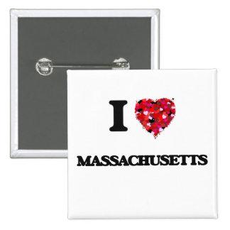 I Love Massachusetts 2 Inch Square Button