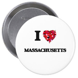 I Love Massachusetts 4 Inch Round Button