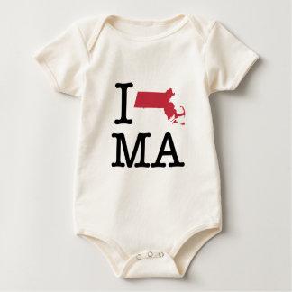 I Love Massachusetts Baby Bodysuit
