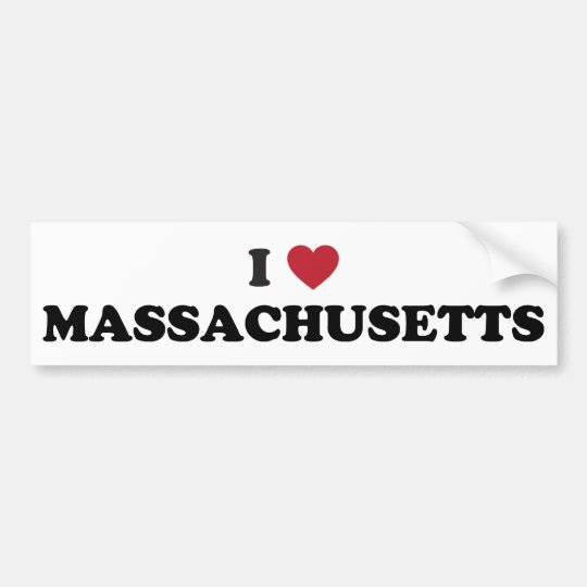 I Love Massachusetts Bumper Sticker