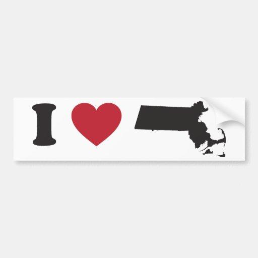 I Love Massachusetts Car Bumper Sticker