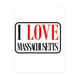 I Love Massachusetts Design Postcard