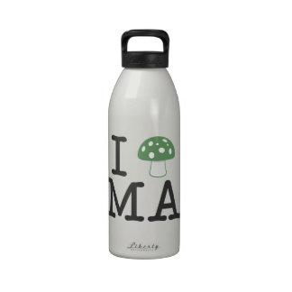 I LOVE Massachusetts - Forest Green Magic Mushroom Reusable Water Bottle