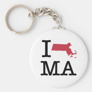 I Love Massachusetts Keychain