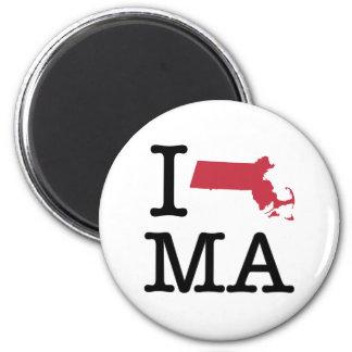 I Love Massachusetts Refrigerator Magnets