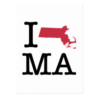 I Love Massachusetts Postcard