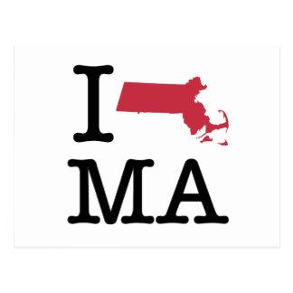 I Love Massachusetts Postcards