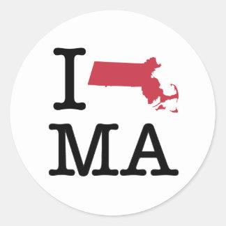 I Love Massachusetts Round Stickers