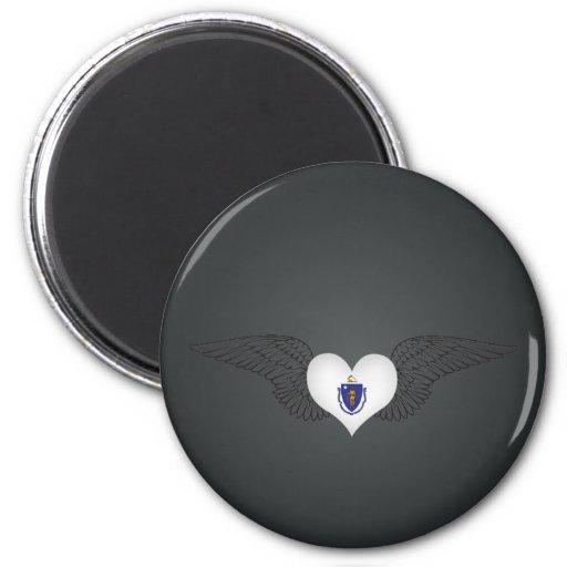 I Love Massachusetts -wings 2 Inch Round Magnet