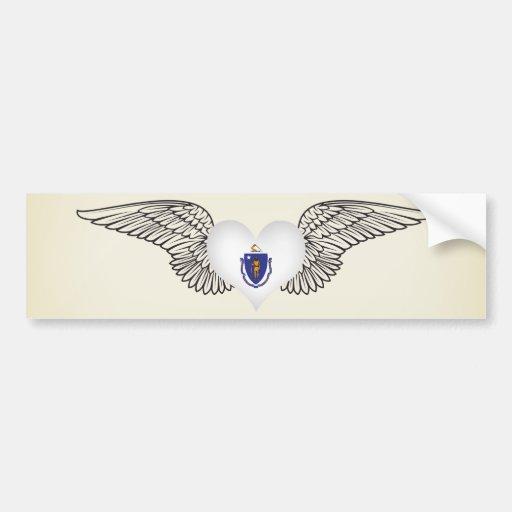 I Love Massachusetts -wings Car Bumper Sticker