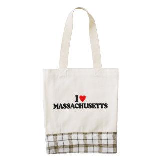 I LOVE MASSACHUSETTS ZAZZLE HEART TOTE BAG