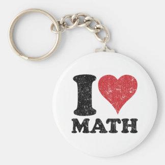 I Love Math Basic Round Button Keychain