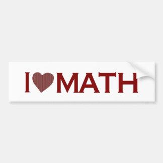 I Love Math Car Bumper Sticker