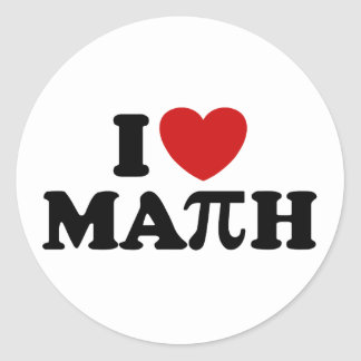 I Love Math Classic Round Sticker