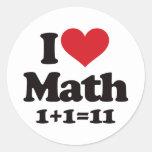 I Love Math! Classic Round Sticker