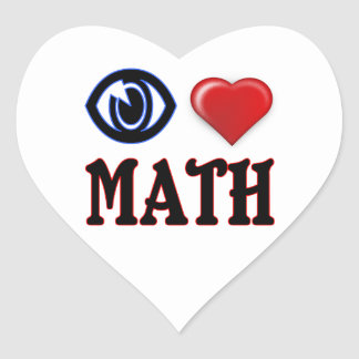 I Love Math Heart Sticker