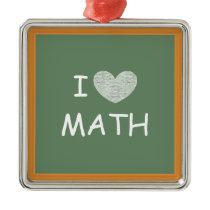 I Love Math Metal Ornament
