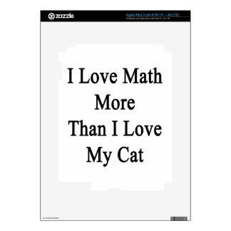 I Love Math More Than I Love My Cat Decal For iPad 3