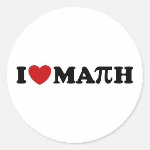 I Love Math Round Stickers