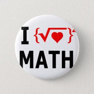I Love Math White Button