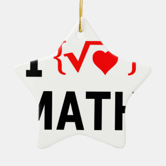 I Love Math White Ceramic Ornament