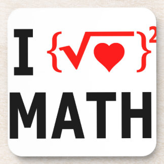I Love Math White Drink Coaster