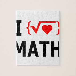 I Love Math White Jigsaw Puzzle