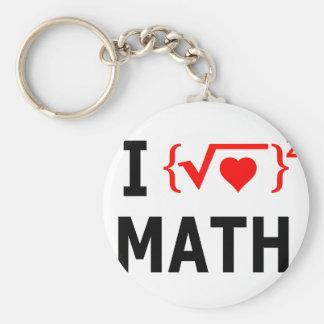 I Love Math White Keychain