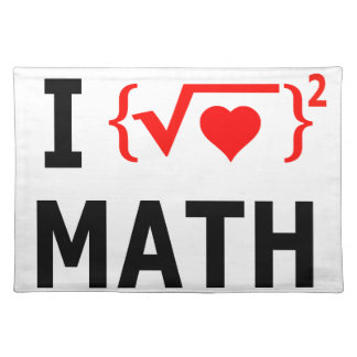 I Love Math White Placemat