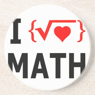I Love Math White Sandstone Coaster