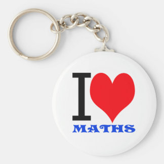 I love maths basic round button keychain