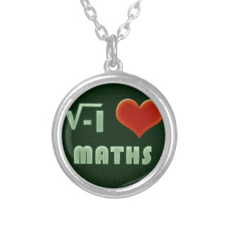 I LOVE MATHS - Green model Round Pendant Necklace
