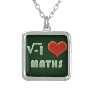 I LOVE MATHS - Green model Square Pendant Necklace