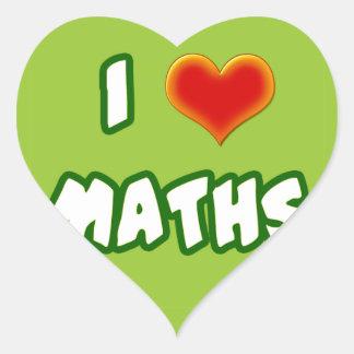 I LOVE MATHS - GREEN MODEL HEART STICKERS