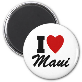 I Love Maui 2 Inch Round Magnet