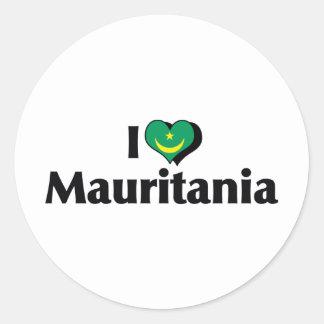 I Love Mauritania Flag Classic Round Sticker