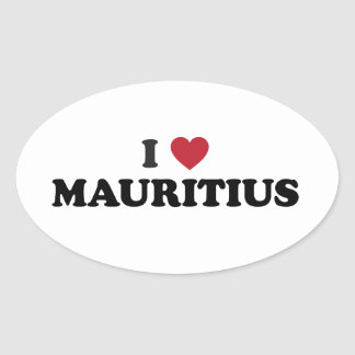 I Love Mauritius Oval Sticker