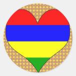 I Love Mauritius Round Stickers
