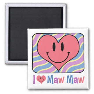 I Love Maw Maw 2 Inch Square Magnet