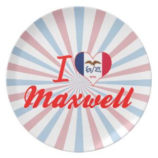I Love Maxwell Iowa Party Plates