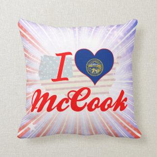 I Love McCook, Nebraska Throw Pillows