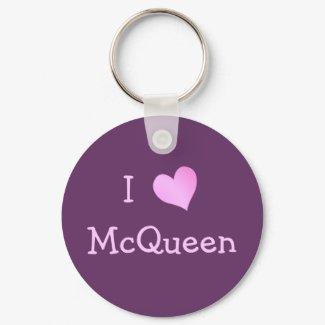 I Love McQueen keychain