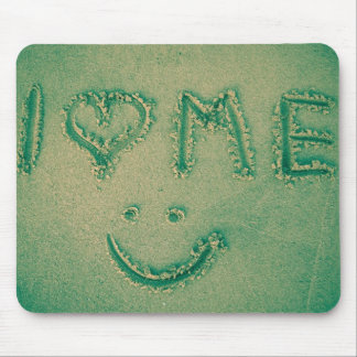 I love me - beach sand writing mousepads