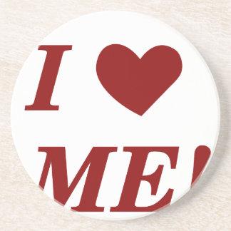 I Love Me - Dark Red Drink Coasters