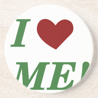 I Love Me - Green Beverage Coaster