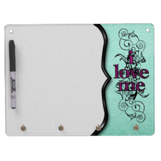 I Love Me in Aqua and PInk Dry Erase Board With Keychain Holder